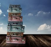Old travel luggage with nice sky Stock Images