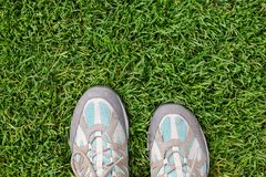 Old travel sneakers on the green grass. View from the top. Travel concept Stock Photo