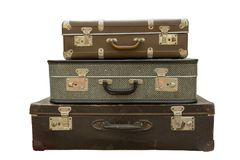 Old travel suitcases. Isolated photo of the old travel suitcases Royalty Free Stock Photography