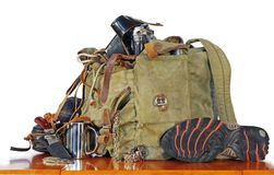 Old traveller equipment. Old traveler equipment. backpack, map, camera ets Stock Images
