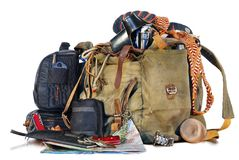 Old traveller equipment. Old traveler equipment. backpack, passport, map, camera ets Stock Photography