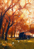 Old travelling van in beautiful autumn forest Stock Image