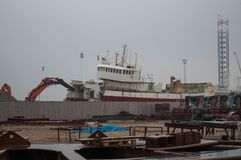 Old trawler being scrapped Stock Images