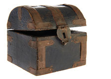 Old treasure box. Old antique wooden treasure box Stock Photography