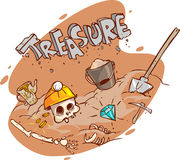 Old treasure chest buried under ground Royalty Free Stock Photo