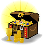 Old Treasure Chest/eps. Illustration of a traditional treasure chest with gold coins, jewelry and gems vector illustration