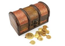 Old treasure chest with gold. Treasure chest with gold on white background royalty free stock image