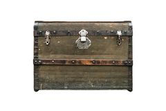 Old treasure chest isolated on white background. Vintage vintage dark green box. Old treasure chest isolated on white background, Vintage vintage dark green box royalty free stock images