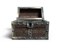 Old treasure chest open, 3D rendering Royalty Free Stock Photos