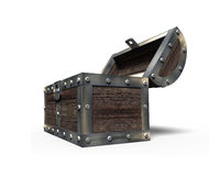 Old treasure chest open, 3D rendering Royalty Free Stock Images