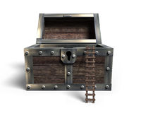 Old treasure chest open with wooden ladder, 3D rendering Stock Photo
