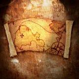 Old treasure map. On grunge background stock illustration
