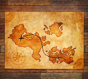 Old treasure map. On a wood background Stock Photos
