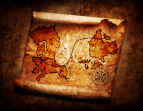 Old treasure map. On grunge background Stock Photos