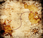 Old treasure map. On scratched paper Royalty Free Stock Photography