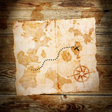Old treasure map. On wooden grunge background Stock Photo