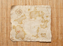 Old treasure map. On wooden grunge background Stock Images