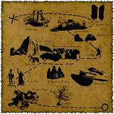 Old treasure map. Old crumpled and burned piece of paper with a detailed map of a fantasy land Vector Illustration