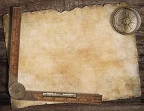 Old treasure map background with compass and ruler Stock Photos