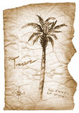 Old treasure map with burned, edges on white Royalty Free Stock Photos