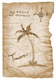 Old treasure map with burned, edges on white Royalty Free Stock Images
