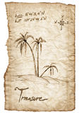Old treasure map with burned, edges on white Stock Photography