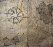 Old treasure map. On canvas Royalty Free Stock Photo