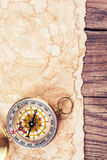 Old treasure map. With compass Royalty Free Stock Photography