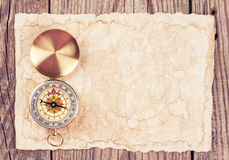 Old treasure map. With compass Stock Image