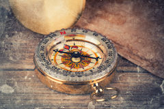 Old treasure map. With compass Royalty Free Stock Image