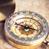 Old treasure map. With compass Royalty Free Stock Photos