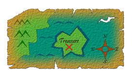 Old treasure map. Illustration of treasure map on old paper Stock Photography