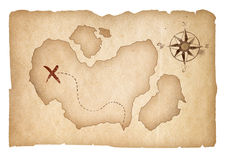 Old treasure map isolated with clipping path Royalty Free Stock Images