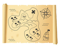Old Treasure Map on Parchment Stock Photography