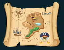 Old treasure map for pirate adventures. Island with old chest. Vector illustration Stock Photo