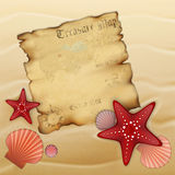 Old treasure map on sand. With starfishes, shells and urchin. Illustration contains gradient mesh Stock Photo