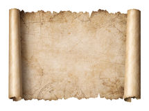 Old treasure map scroll isolated 3d illustration. Old treasure map scroll isolated on white 3d illustration Royalty Free Stock Photography