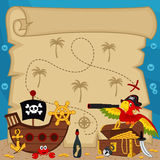 Old treasure map. Vector illustration royalty free illustration