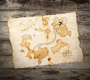 Old treasure map. On wooden grunge background Royalty Free Stock Photos