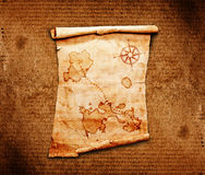 Old treasure map. On a wooden grunge background Royalty Free Stock Photography