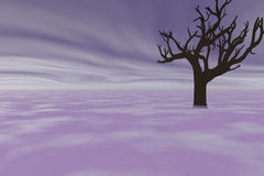 Old tree. In mist and haze Vector Illustration