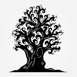 Old tree with crimped branches, a hollow, knotty roots. Tattoos, Stock Photo