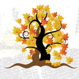 Old tree, grass, autumn,grunge Stock Photography