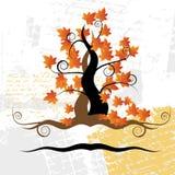 Old tree, grass, autumn,grunge Royalty Free Stock Image