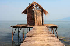 Old tree house in water. At lake Prespa,Macedonia Stock Image