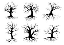Old tree icons silhouettes with roots Royalty Free Stock Photos