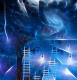 Tree climb. Old tree with ladders and light bulbs represents ideas Royalty Free Stock Image