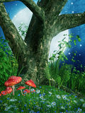 Old tree and mushrooms royalty free illustration