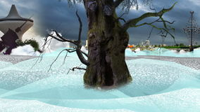 Old tree over clouds and landmarks at cloudy day loop. From imagination stock video