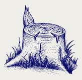 Old tree stump. Doodle style Royalty Free Stock Photo